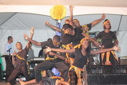 A dance company performs at the launch of Gospel Fest in Kingstown on Sunday, April 8, 2012.