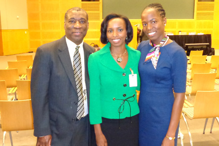 Vincentian economists Wendell Samuel (left) and Jehann Jack (right) and SVG's Ambassador to the United States, La Celia Prince.