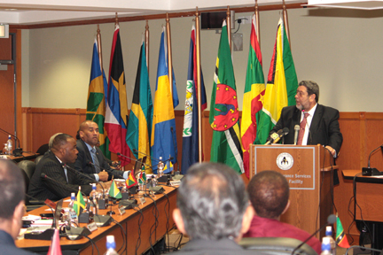 Prime Minister Dr. Ralph Gonsalves addresses the 43rd Special Meeting of the Council for Trade and Economic Development in Kingstown on Wednesday, May 29, 2013.