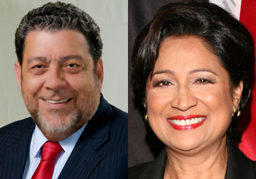 Prime Minister of St. Vincent and the Grenadines, Dr. Ralph Gonsalves (left) and Prime Minister of Trinidad and Tobago, Kamla Persad Bissessar. (Montage image)