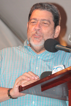 Prime Minister Dr. Ralph Gonsalves as he address the Fisherman's Day 2013 Rally on Monday, May 20.