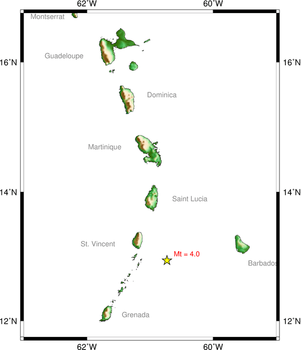 The yellow star indicates the location of the earthquake. (Image: UWI Seismic Centre)