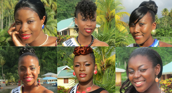 Clockwise from top left: Miss Golden Groove, Shakelia Anthony; Miss Troumaca, Fayasha Lewis; Miss Rose Bank, Kaywana Laborde; Miss Chateaubelair, Kayana Stephens; Miss Fitz Hughes, Deshia Murray; Miss Petit Bordel, Ocean Edwards.