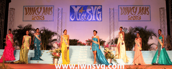 Miss SVG 2013 contestants in Evening Gown