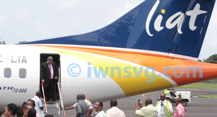 Prime Minister Dr. Ralph Gonsalves disembarks after the demonstration flight.