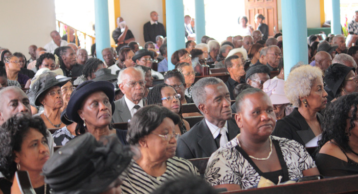"Mourners at the funeral of Patrick ""Pat"" Prescod at the Kingstown Methodist Church on Thursday. (IWN photo)"