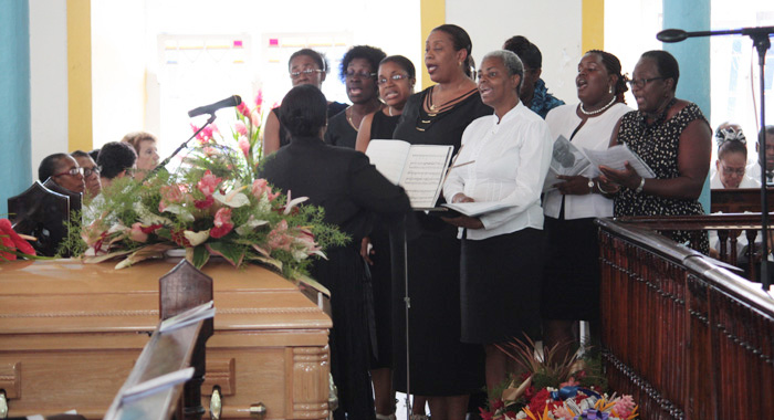 "The group Cantemus sings at the funeral of Patrick ""Pat"" Prescod at the Kingstown Methodist Church on Thursday."