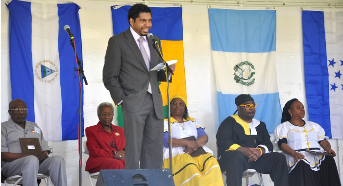Ambassador Gonsalves addresses the New Jersey Folk Festival on Garifuna History in April 2013. (Photo courtesy SVG UN Mission)