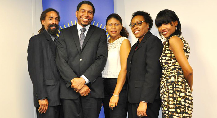 "In this July 2013 photo, Ambassador Gonsalves poses with his staff, whose work, he said, has been ""invaluable, if oftentimes invisible"". (Photo courtesy SVG UN Mission)"