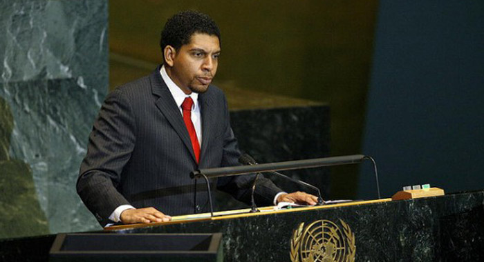 In this undated Internet photo, Ambassador Camillo Gonsalves speaks at the United Nations.