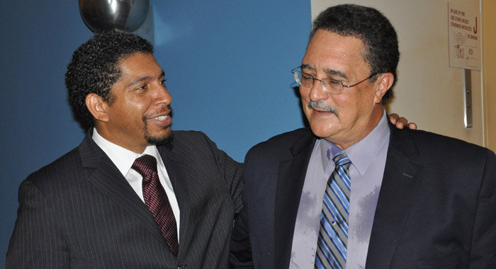 Ambassador Gonsalves, left, speaks with Prime Minister of St. Lucia, Dr. Kenny Anthony, at the United Nations in September 2012. (Photo: SVG UN Mission)