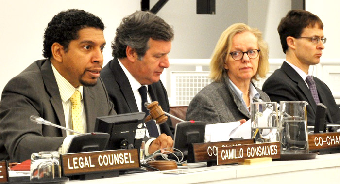 Ambassador Gonsalves co-chairs a meeting of the Regular Process for Assessment of the Marine Environment in May 2012. (Photo courtesy SVG UN Mission)