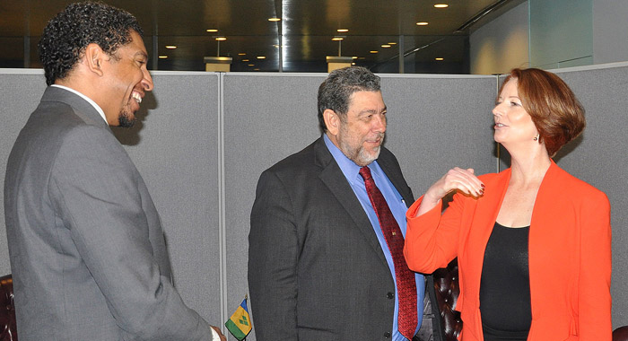 Ambassador Gonsalves, left, and Prime Minister Dr. Ralph Gonsalves, centre, speaks with Prime Minister of Australia, Julia Gillard, at the United Nations in September 2012. (Photo: SVG UN Mission)