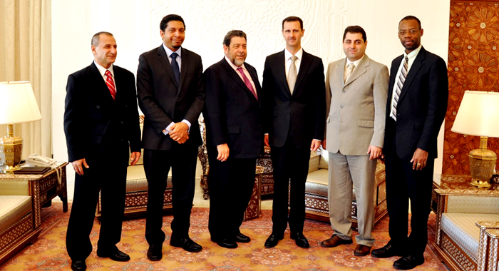 Ambassador Gonsalves, second from left, was part of an official delegation to Syria in October 2010. He is seen where with, from left, Vincentian businessman, Toni Sassine, Prime Minister Ralph Gonsalves, President of Syria Bashar al-Assad, Dr. Barry Assi, and Dr. Rudolph Matthias. (Photo: SVG UN Mission)