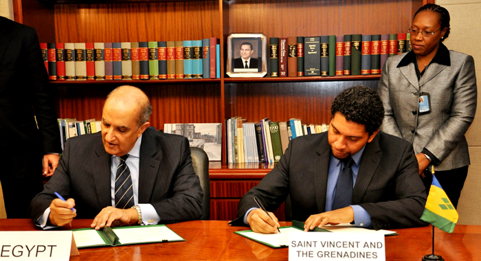Ambassador Gonsalves and Egypt's Ambassador to the U.N., Maged Abdelfattah Abdelaziz, establish diplomatic relations between Egypt and St. Vincent and the Grenadines on Nov. 16, 2010. (Photo courtesy SVG U.N. Mission).