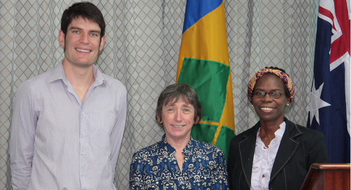 From left: Australian volunteers, Nicolas Harris and Dr. Annie Egan, and In Country Manager – SVG, Joylyn Dennis Lampkin. (IWN photo)