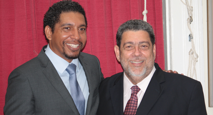 Sen. Camillo Gonsalves, left, and his father, Prime Minister Dr. Ralph Gonsalves. (IWN photo)