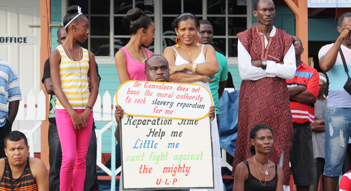 "Businessman Leon ""Bigger Biggs"" Samuel protested at the opening of the Reparations Conference."