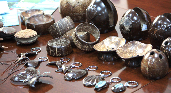 Items made from coconut shell in Samoa are displayed at the workshop.