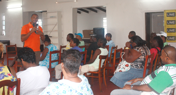 General Manager of LIME, Leslie Jack, addresses the meeting in Georgetown.