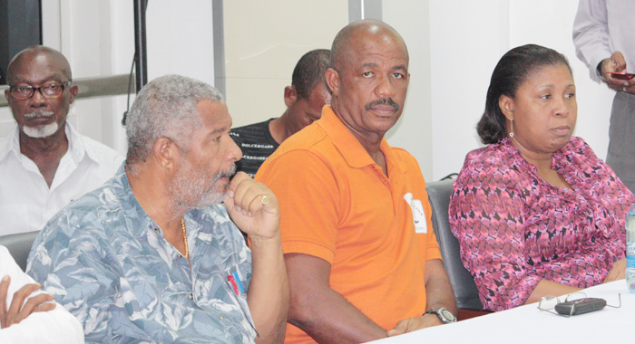 Jennifer Cruickshank-Howard, SVG's acting chief fisheries officer, left, at the screening in Guyana on Monday.
