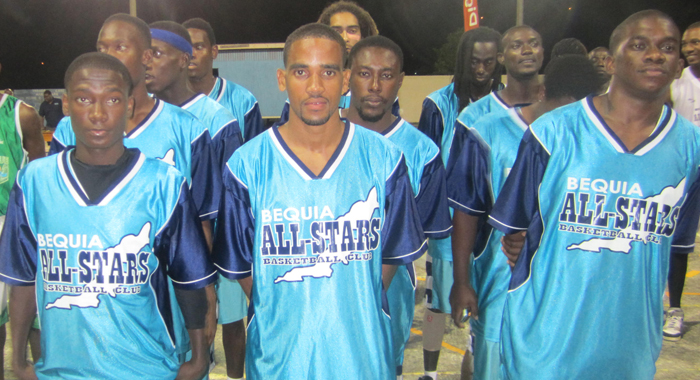 The Bequia All-Stars team at the opening ceremony.
