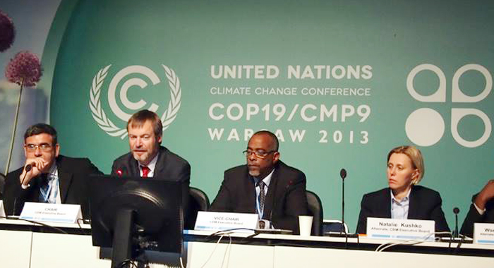 Hugh Sealey, third left, is chair of the Alliance of Small-Island States. (UNFCCC photo)
