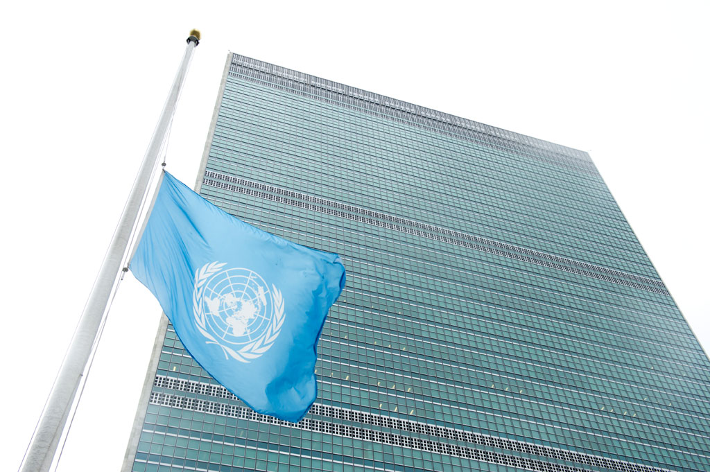 The UN flag flies at half-mast in remembrance of the late Nelson Mandela, former President of South Africa. (UN Photo/Eskinder Debebe)
