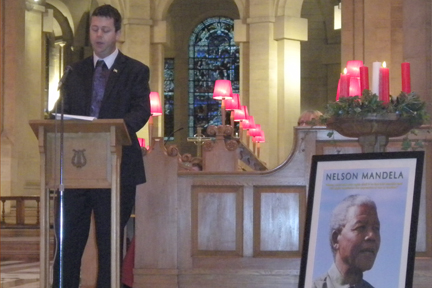 Dr Christopher Stange, hon. consul for SVG to Northern Ireland delivering the key note address at St. Anne's Cathedral, Belfast.
