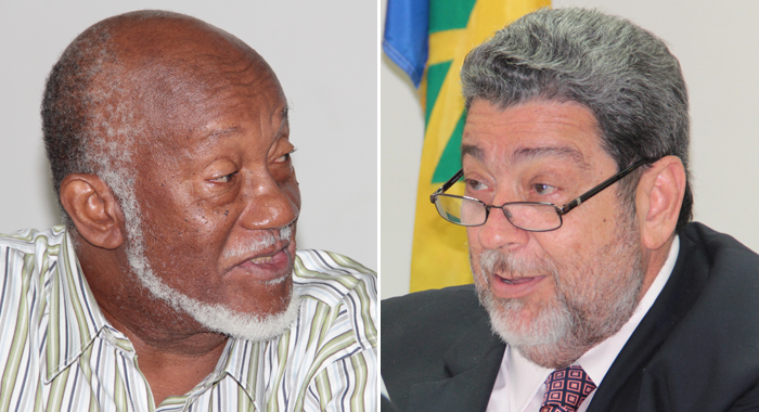 Chair of the People's Movement for Change, Oscar Allen, left, h and Prime Minister Ralph Gonsalves. (IWN file montage)