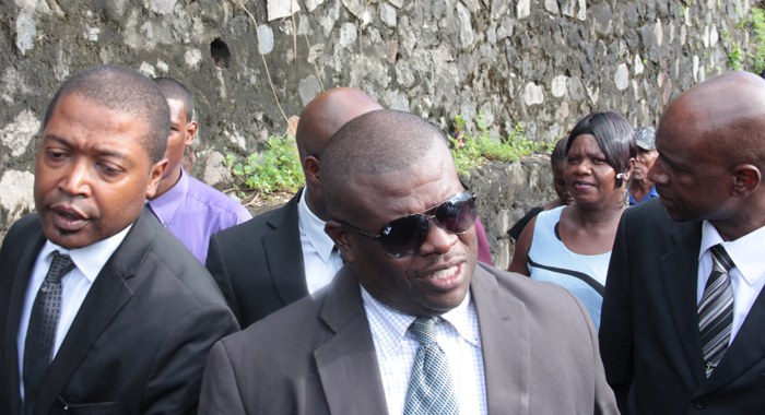MP for North Leeward, Roland Patel Matthews, centre, during the funeral procession. (IWN photo)