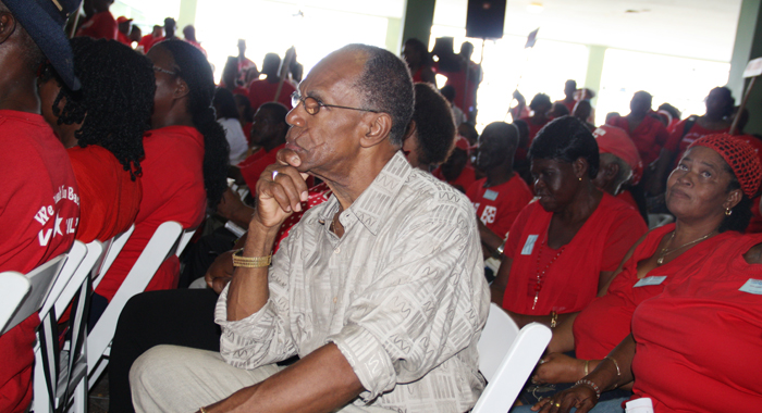 NDP member Frank Da Silva listens as Gonsalves delivers the feature address at the ULP convention on Sunday. (IWN photo)