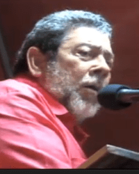 Prime Minister Ralph Gonsalves as he addressed the rally. (IWN image)
