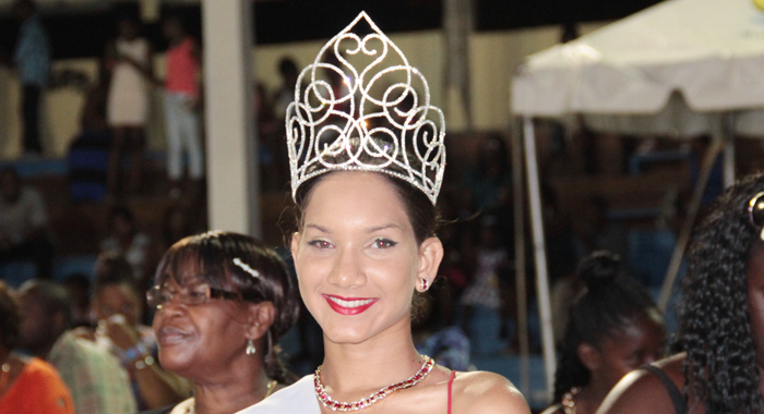 First Runner-up, Miss Barbados Heidi Barrow, seen here at the Miss Easterval 2014 pageant on Sunday, was crowned after Ollivierre was dethroned. (IWN photo)