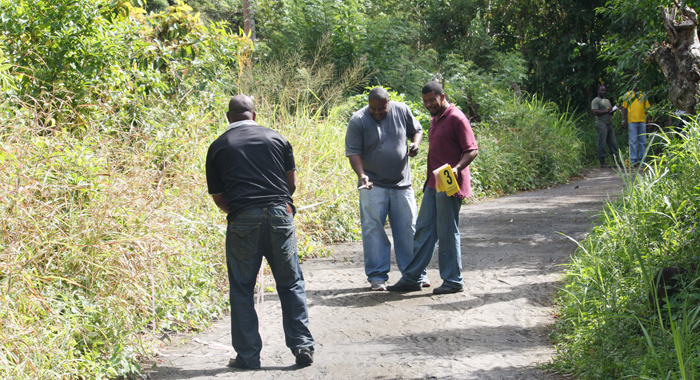 Detective Station Sgt. Trevor Bailey, centre, and other homicide investigators at the scene where Williams' body was discovered. (Photo: Karamo John/IWN)