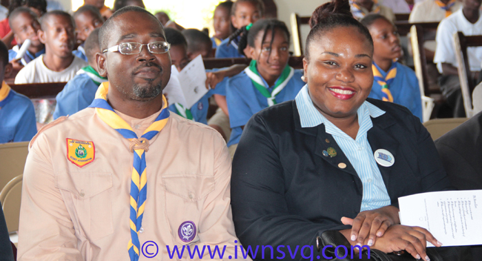 Chief Commissioner of Scouting in SVG, Adrian Wyllie, left, and Chief Commissioner of the Girl Guides in SVG, Rechanne Browne-Matthias at the service last week.