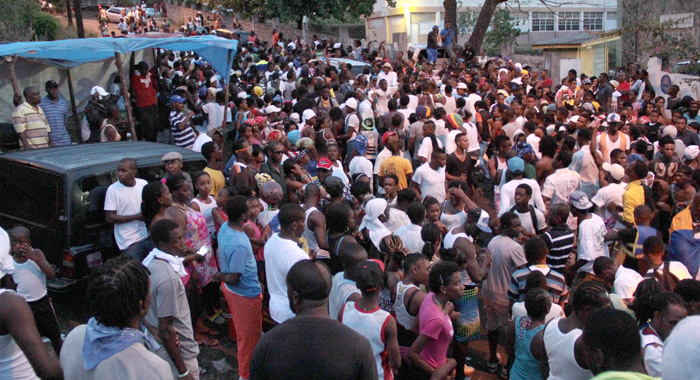 Hundreds of persons participated in J'ouvert immediately after the show. (IWN photo)