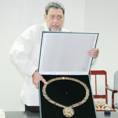 Gonsalves received Ecuador's highest civilian award during the visit. (IWN photo)