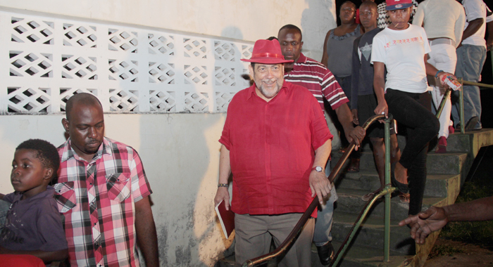 PM Gonsalves as he  exited the ULP South Leeward  Constituency Conference in July, where Williams nominated Thomas as the ULP's candidate for South Leeward. (IWN photo)