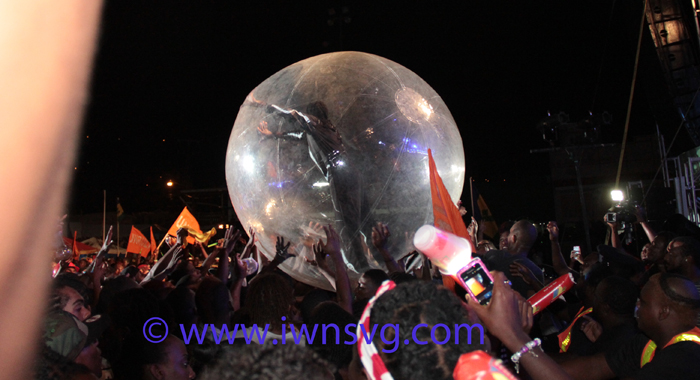 Fireman takes to the crowd in an inflated balloon. (IWN photo)