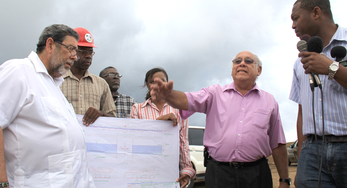 Prime Minister Ralph Gonsalves, left, in August led his Cabinet on a tour of the Argyle Int'l Airport. (IWN photo)