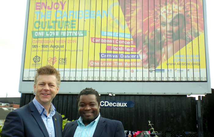 Christopher Stange, left, and Joseph Ricketts launching Caribbean Week 2014 & One Love Festival Billboard in Northern Ireland.