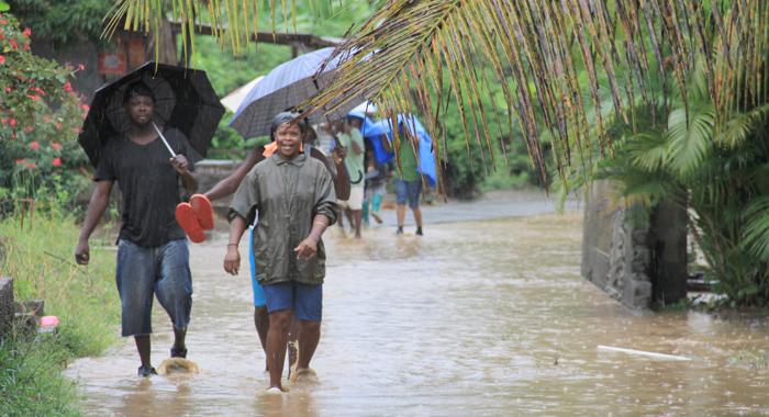 Residents walk along a flooded road in Buccament Bay. (IWN photo)
