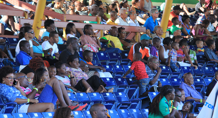 A section of the crowd at Arnos Vale Sports Complex on Sunday. (IWN photo)