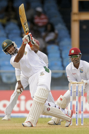 Mahmudullah hits out during his 66 (Photo: WICB/BrooksLaTouche)