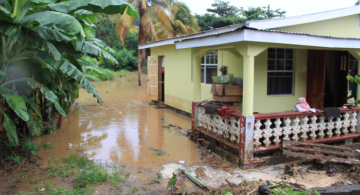 This house in Buccament Bay was flooded out on Saturday. It was also flooded out in the Christmas disaster. (IWN photo)