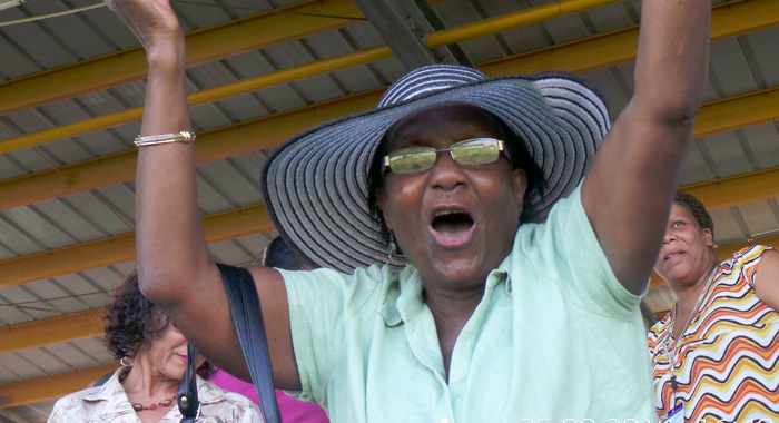 """Tanty Merle""? A woman reacts after Dottin hits the winning run. (IWN photo)"