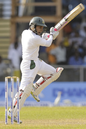 Mushfiqur drives through the covers  during his unbeaten 70. (Photo: WICB/BrooksLaTouch)
