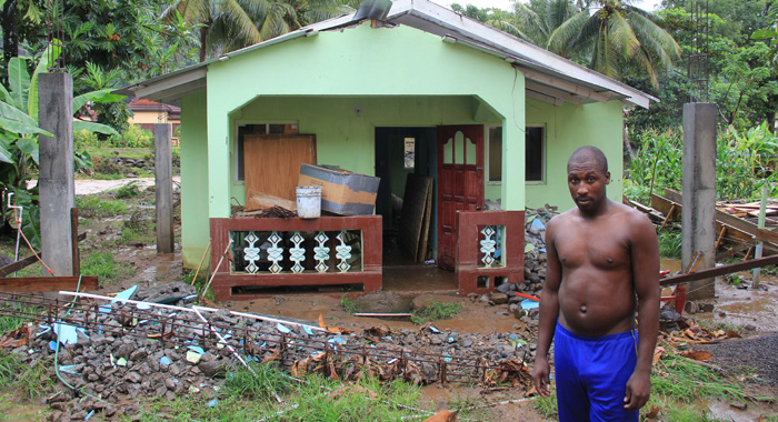 Renrick Quashie lost building materials and household appliances in the floods.