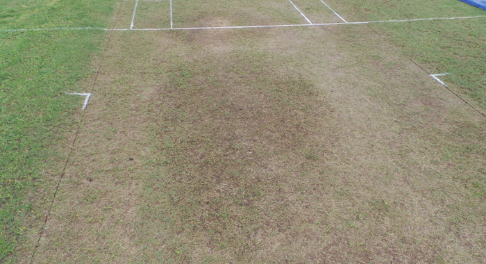 A wet patch in the designated match day pitch. (IWN Photo)